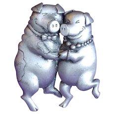 Dancing Pigs Signed JJ Jonette Vintage Brooch