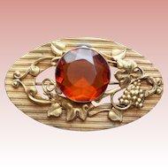 Antique Victorian Amber Glass Grapes Sash Pin Brooch