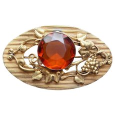 Antique Victorian Amber Glass Grapes Sash Pin Brooch
