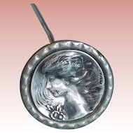 Victorian Sterling Front Lady Face Long Hat Pin