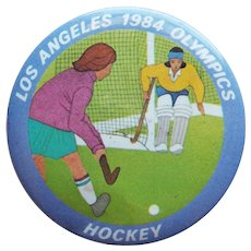 "Large LA 1984 Olympics Hockey Vintage Pin Pinback - 2 1/8"""