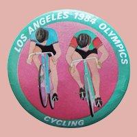 "Large LA 1984 Olympics Cycling Vintage Pin Pinback - 2 1/8"""