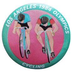 Large LA 1984 Olympics Cycling Vintage Pin Pinback - 2 1/8""