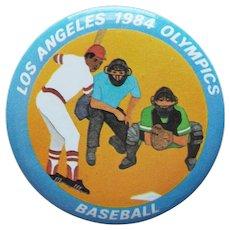 "Large LA 1984 Olympics Baseball Vintage Pin Pinback - 2 1/8"""