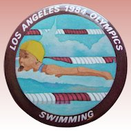 Large LA 1984 Olympics Swimming Vintage Pin Pinback - 2 1/8""