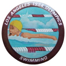 "Large LA 1984 Olympics Swimming Vintage Pin Pinback - 2 1/8"""
