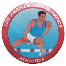 Large LA 1984 Olympics Athletics Vintage Pin Pinback - 2 1/8""