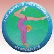 "Large LA 1984 Olympics Gymnastics Vintage Pin Pinback - 2 1/8"""