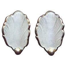 Gorgeous Sterling & Enamel Signed Norway Vintage Earrings