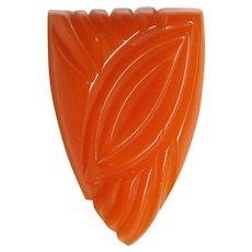Gorgeous Carved Bakelite Orange Vintage Dress Clip