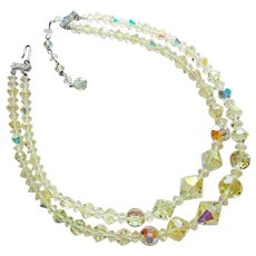 Gorgeous Yellow Aurora Crystal 2 Strand Vintage Necklace