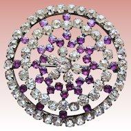 Fabulous Antique Purple & Clear Rhinestone Brooch