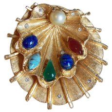 Gorgeous Shell Shaped Brooch with Color Glass Stones