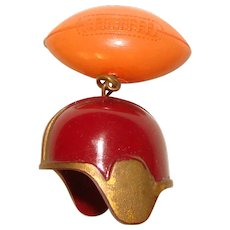 Awesome Early Plastic Football Helmet Vintage Brooch