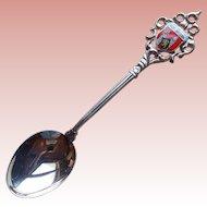 800 Silver Hof Enamel Vintage Spoon - Germany Souvenir