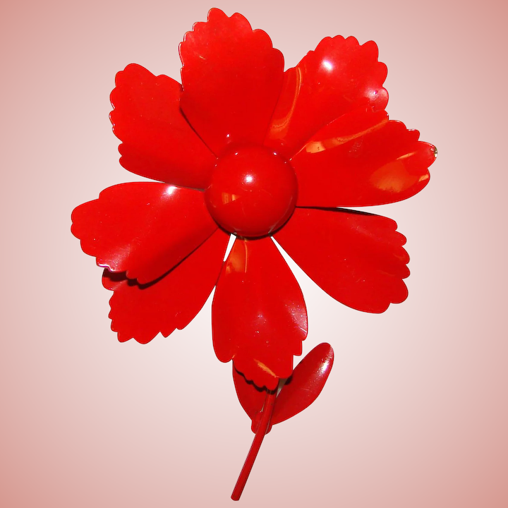 a7aa87c4b Awesome FLOWER POWER Vibrant Red Enamel Vintage 1960s Estate Pin :  Jewelpigs | Ruby Lane