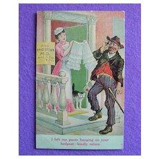 Antique RISQUE Doctor Panties Drunk Bum & Cat Estate Comic Postcard
