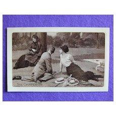THE CHAPERON & Romantic Couple on a Picnic Antique Postcard