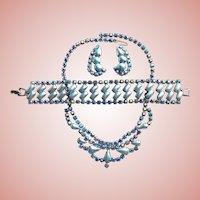 Fabulous Faux Pearl & Blue Aurora Rhinestone Parure Set