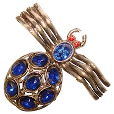 Fabulous SPIDER Blue Oval Glass Stones Vintage Brooch