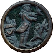 Small Antique Boy & Bird Picture Story Button