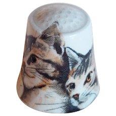 Vintage Cat & Kitten Porcelain Estate Thimble
