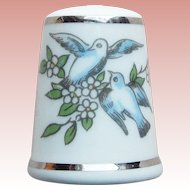 Royal Worcester Birds Vintage Porcelain Thimble