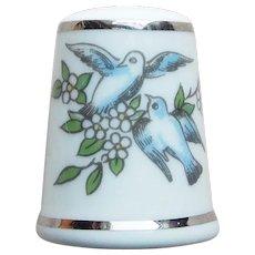 Royal Worcester Birds Vintage Porcelain Thimble