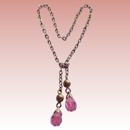 Doll Necklace - Gorgeous Pink Crystal Lariat