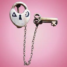 Tiny Heart Padlock & Skeleton Key Vintage Pin