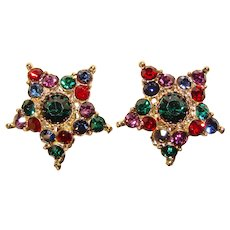 Fabulous Color Rhinestone HOLIDAY STAR Vintage Clip Earrings