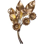 Gorgeous STERLING SILVER Large Flower Design 1940's Brooch