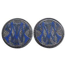 Victorian Love Token Silver Enamel Cufflinks or Collar Buttons -  Circa 1874
