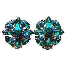 Gorgeous Green Aurora Rhinestone Vintage Earrings