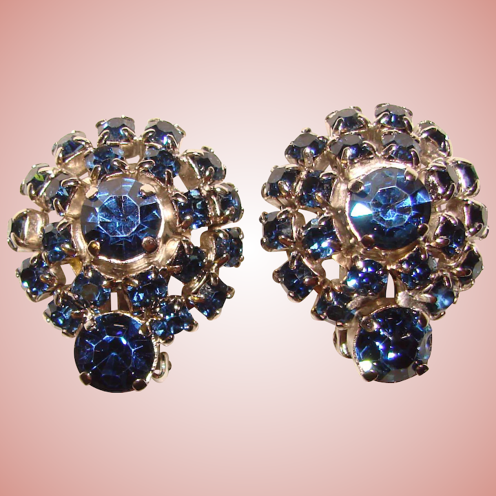Gorgeous Dark Blue Vintage Rhinestone Clip Earrings Jewelpigs Ruby Lane