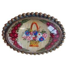 Antique Flower Basket Goofus Glass Brooch