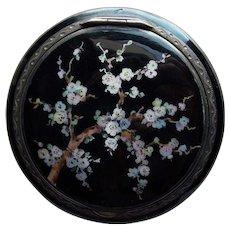 Art Deco Sterling Enamel Flowering Tree Compact