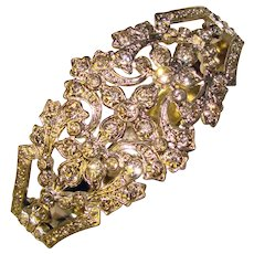 Fabulous ART DECO Ornate Rhinestone Bangle Bracelet