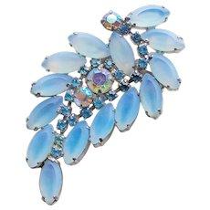 Gorgeous Blue Opalescent Glass & Rhinestone Vintage Brooch