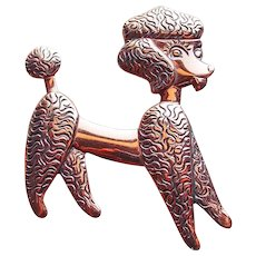 Sassy Poodle Copper Vintage Brooch