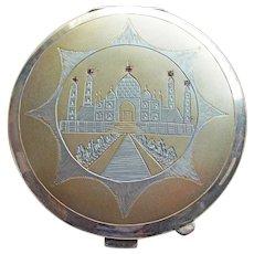 800 Silver Taj Mahal Vintage Powder Compact