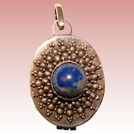 Fabulous STERLING & BLUE Stone Locket Pendant