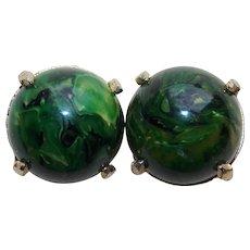 Green Bakelite Vintage Earrings