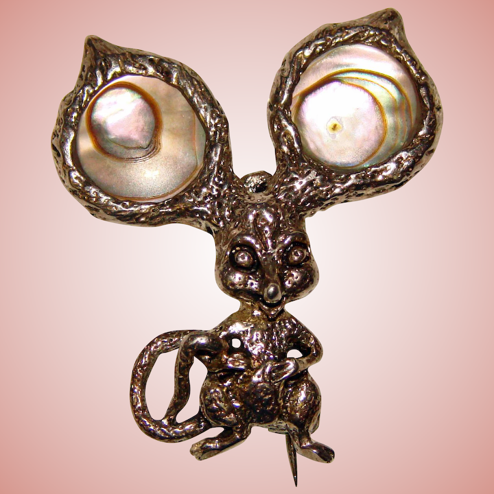 298f030a496 Super Cute Sterling CYVRA Mouse Vintage Pin Brooch : Jewelpigs | Ruby Lane