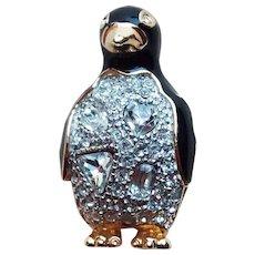 Swarovski Signed Penguin Rhinestone Enamel Brooch - Swan Mark