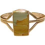 Fabulous STERLING Picture Stone Vintage Southwest Cuff Bracelet