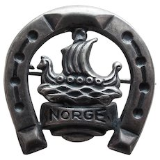 830S Silver Viking Ship & Horseshoe Vintage Brooch