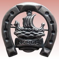 830S Silver Viking Ship & Horseshoe Vintage Brooch