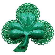 Lucky Early Plastic Clover Vintage Brooch