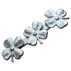 Sterling 4 Leaf Clover Vintage Brooch - Signed Lang
